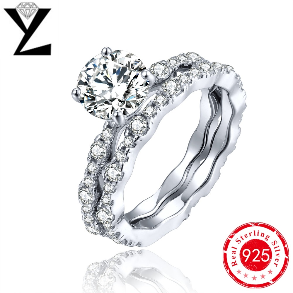 popular cubic zirconia wedding sets white gold buy cheap