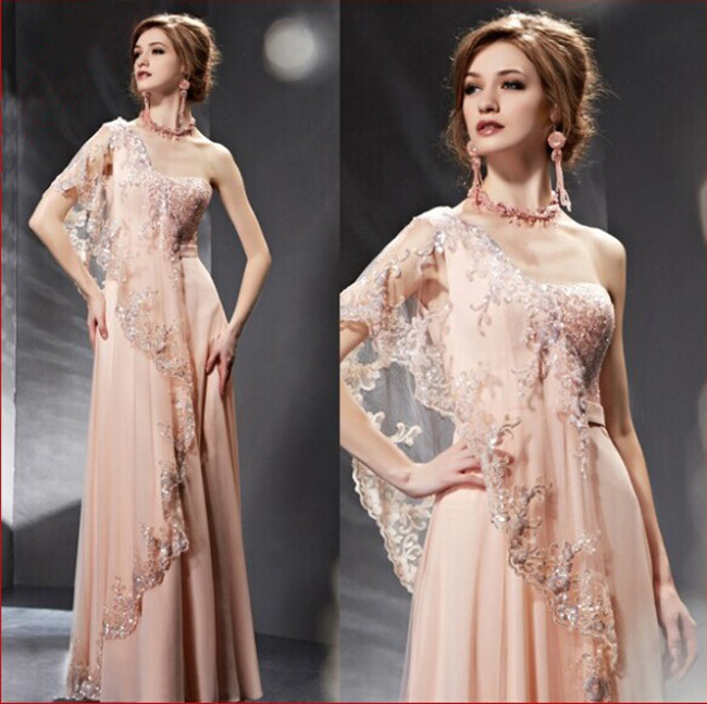 Inde Saree Style simple dentelle épaule lumière rose fille robe De bal mode robe De soirée avec paillettes 2015 robe De Festa Longo(China (Mainland))
