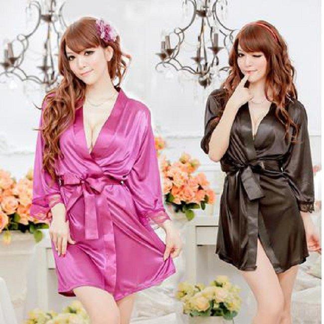 Free Shipping Women's Sexy Lace Nightwear Lingerie Long Bathrobe, Sleep Dress Robe Nightgowns Sleepwear Black Purple HO654284(China (Mainland))