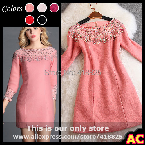 2014 autumn winter designer women's dresses pink black fushcia red vintage pattern beading collar fashion brand mini event dress(China (Mainland))