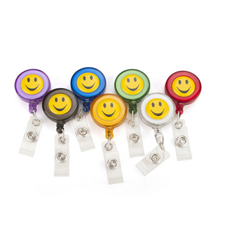 Smiling Face ID Holder Name Tag Card key Badge Holder Retractable Round Solid Translucent Plastic Clip-On Office&School Supplies(China (Mainland))