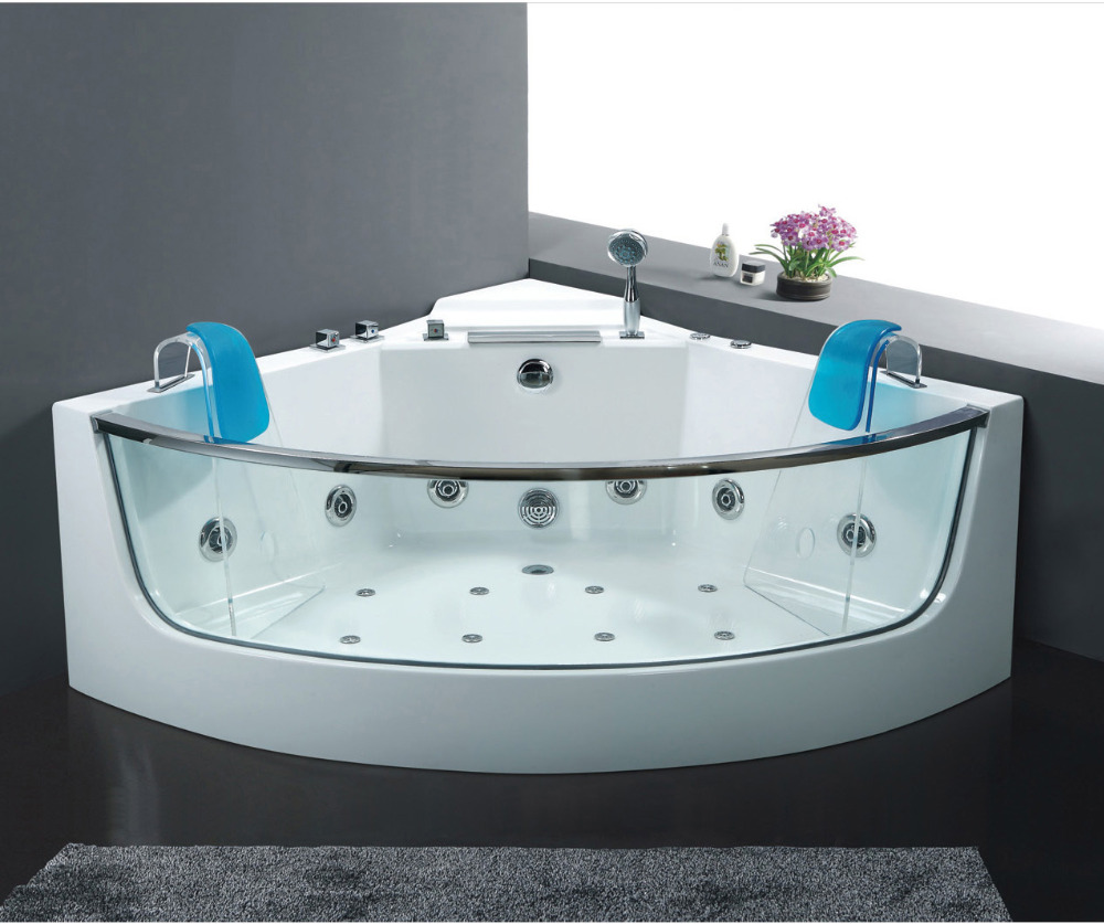 "54.4"" x 54.4"" glass freestanding bathtub with jacuzzi function,whirlpool ,spa bath free shipping by sea WB-B101(China (Mainland))"