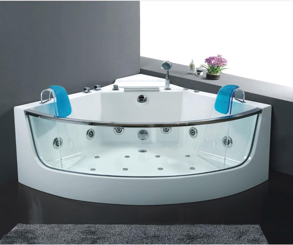 "54.4"" x 54.4"" glass freestanding bathtub with jacuzzi function,whirlpool ,spa bath free shipping by sea WB-B101(China (Mainland))"