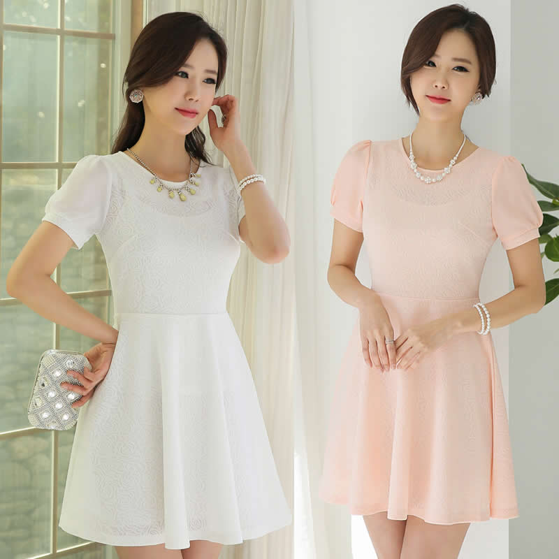 Cute Lace Dress Plus Size Summer Dresses 2015 Embroidered White Pink Lace Women Dresses Puff Sleeve Vintage Pleated Party Dress(China (Mainland))