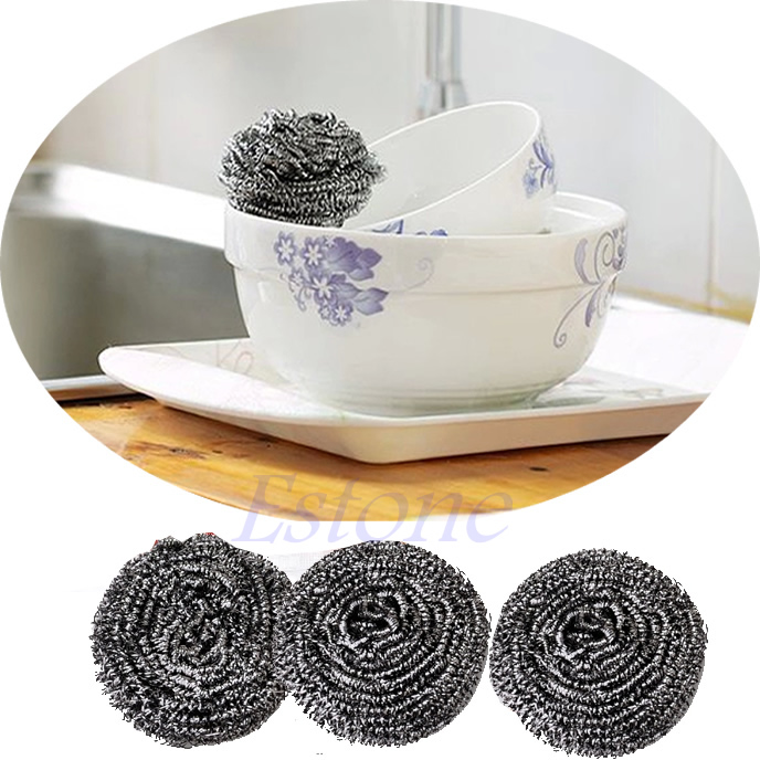 Home Kitchen Pot Cleaning Tool Stainless Steel Balls Wire Scourer 6 Pcs(China (Mainland))
