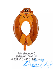 Free Shipping 19inch Animals number digital balloon Number Figure Balloon for Party Decoration 50pcs/lot