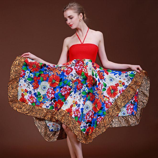 Tropical Bohemian printing cotton irregular big dress national wind dress Bra Women(China (Mainland))