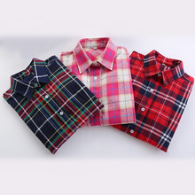 2016 New Spring Summer Fashion Girl's Plaid Flannel Shirt Female Long-Sleeve Plaid Shirt Ladies Large Size Women's Tops 18 Color(China (Mainland))