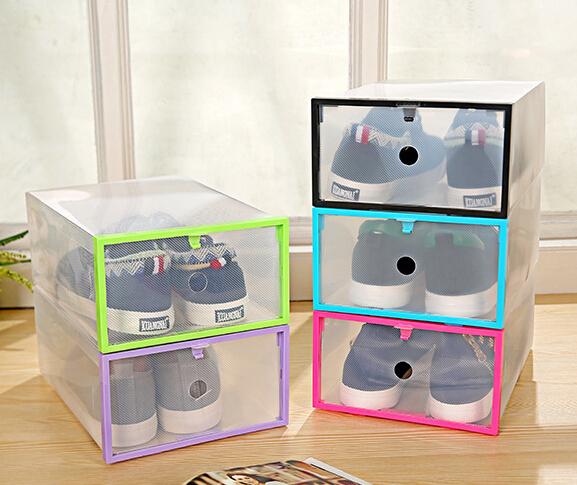 Folding DIY Transparent Drawer Shape Shoes Organizer College Students Storage Plastic Box 29*21*12cm(China (Mainland))