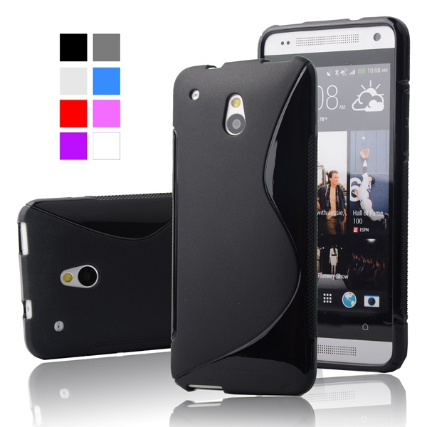 For HTC One Mini M4 Soft TPU Gel S line Skin Cover Case for HTC One Mini M4 Cell Phone Protective Cover Cases Bags(China (Mainland))