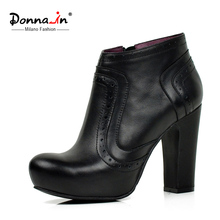 Donna-in original design ankle boots full grain cow leather platform high heel ladies boots