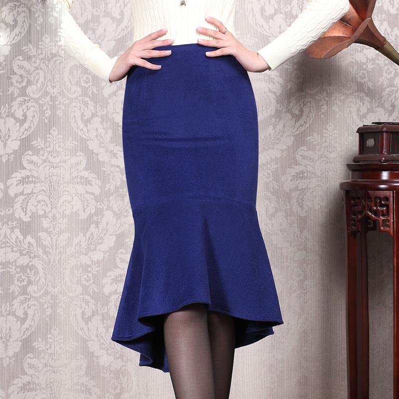 2015 autumn customize blue plus size bodycon fishtail
