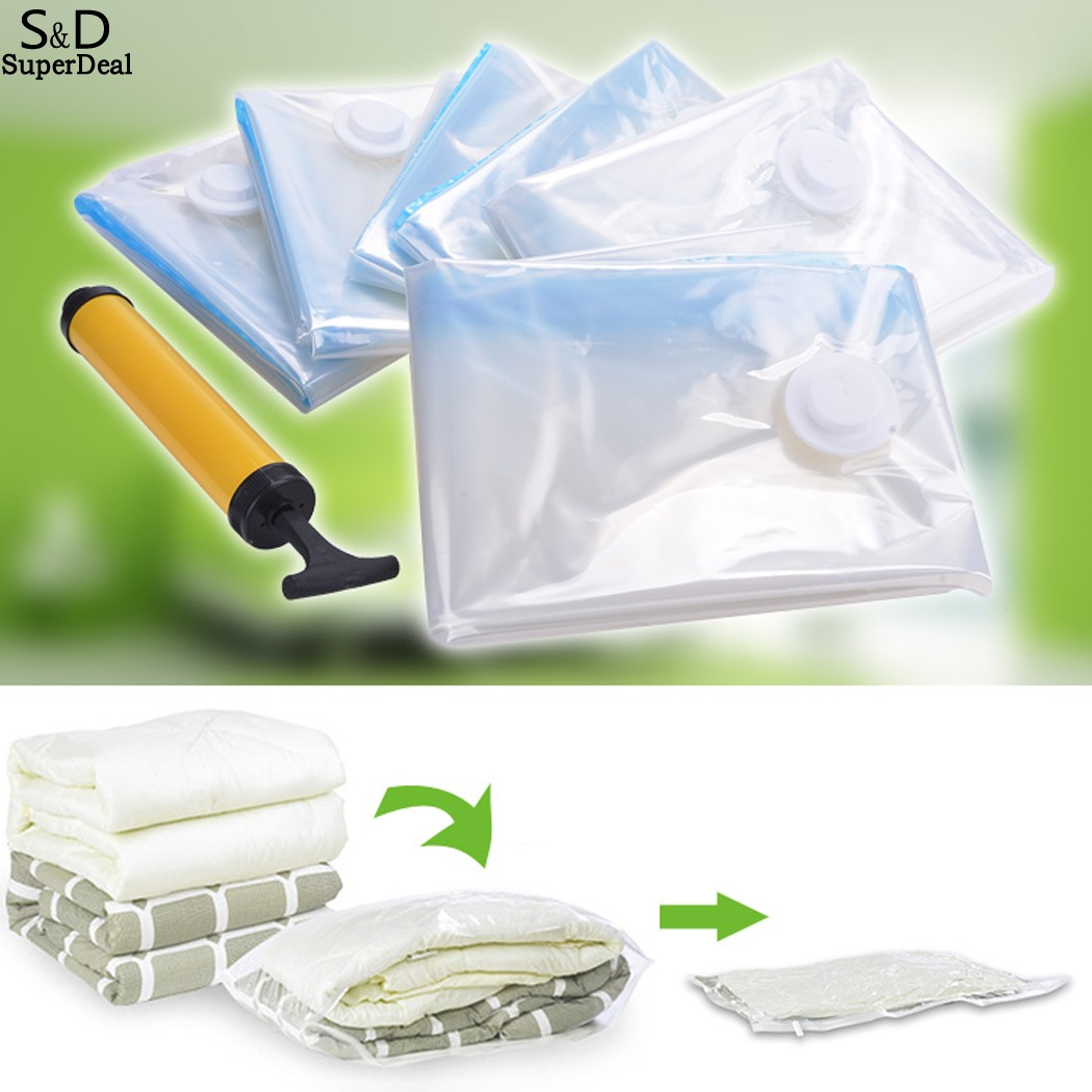 6 PCS 70 x 100cm Vacuum Seal Compressed Organizer Large Space Saver Bag Storage Bag Store Clothes Blankets Comforters Pillows(China (Mainland))