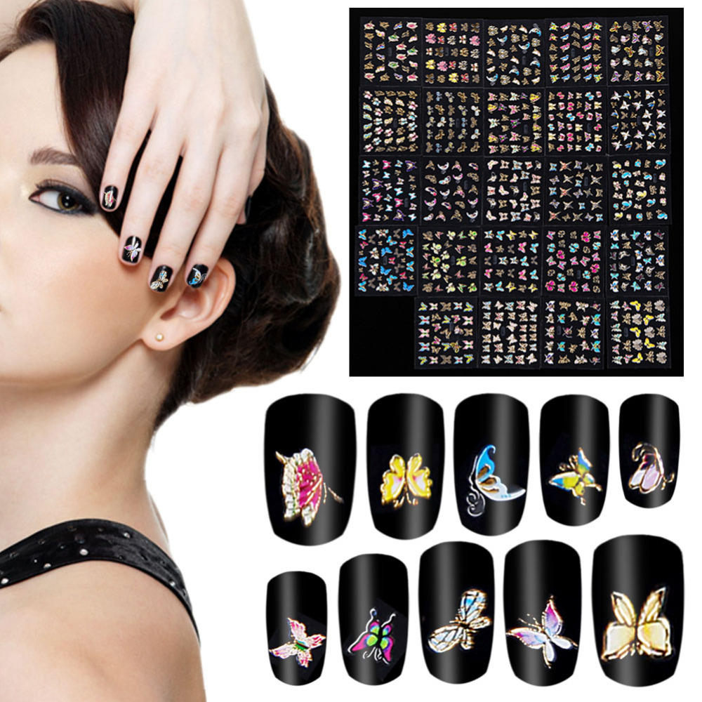 24Pcs/set New Multicolor butterfly Animals Pattern 3D Nail Sticker DIY Stamping Nails Tips Decoration Stickers Accessories(China (Mainland))