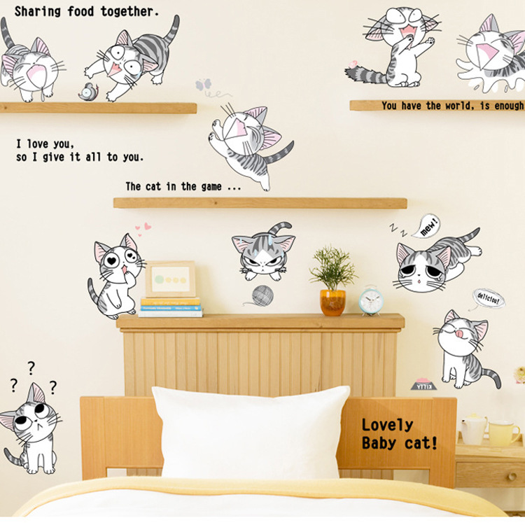 Cute kindergarten children's room-bedroom cabinets decorated cheese cat cartoon wall stickers(China (Mainland))