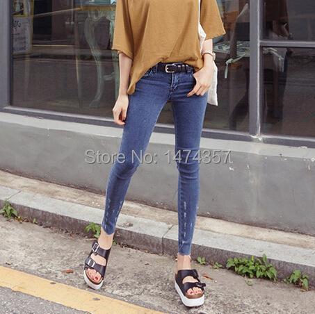 Korea purchasing new winter grip pattern was thin denim trousers pants pencil pants female feet jeans066(China (Mainland))