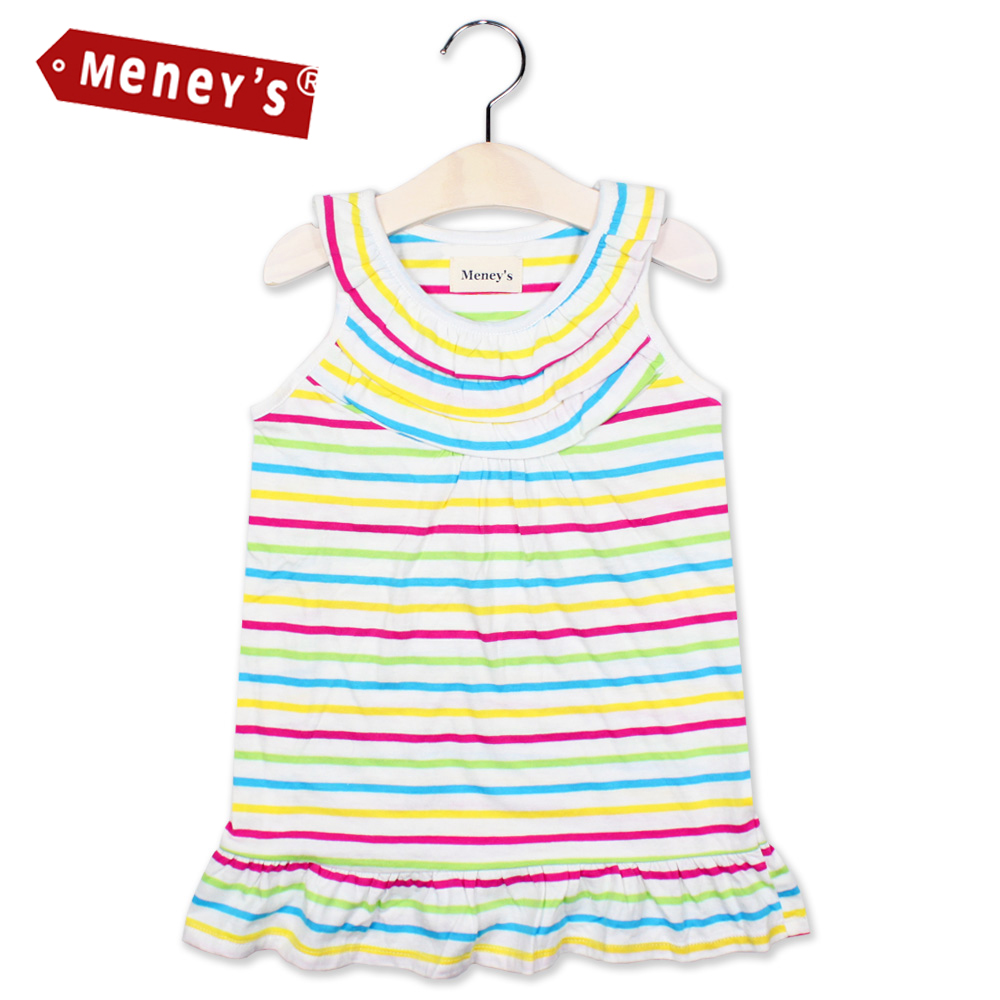 Meney's 2017 Colorful Striped Girls Dresses Rainbow Beach Mini Dress Sleeveless Clothing for Girls Kids Vest Sundress Vestidos(China (Mainland))
