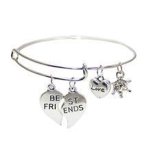 Broken Heart Best Friends girlfriends hand jewelry alloy expandable wire bracelets bangles pendant for women Wholesale AL15000