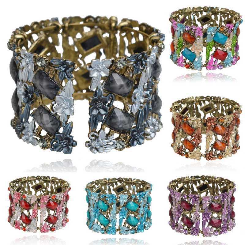 Fashion Women Multicolored Flower Gold Plated Rhinestone Wide Oval Cuff Glazed Bracelets Bangles Fshion Jewelry - Linda store