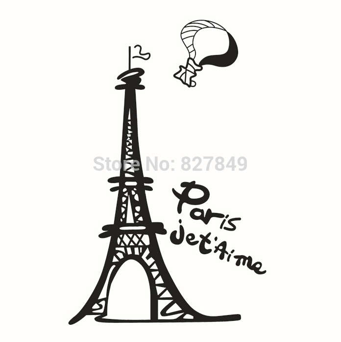 2016 1set 50*70cm I Love Paris Living Room Vinyl Wall Art Decals Eiffel Tower Decoration Stickers for Kids Wallpapers 3d Decor(China (Mainland))