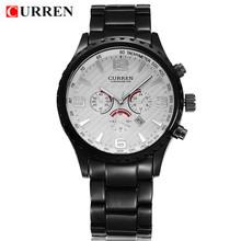 Nueva CURREN 8056 hombres moda deportes del análogo de cuarzo de pulsera acero lleno de hombre del Reloj impermeable militar Reloj Relojes