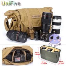 Caden Grewalker Khaki Vintage Canvas DSLR Camera Bag Shoulder Messenger bag for Nikon Sony Canon Pentax Olymus Fuji waterproof(China (Mainland))
