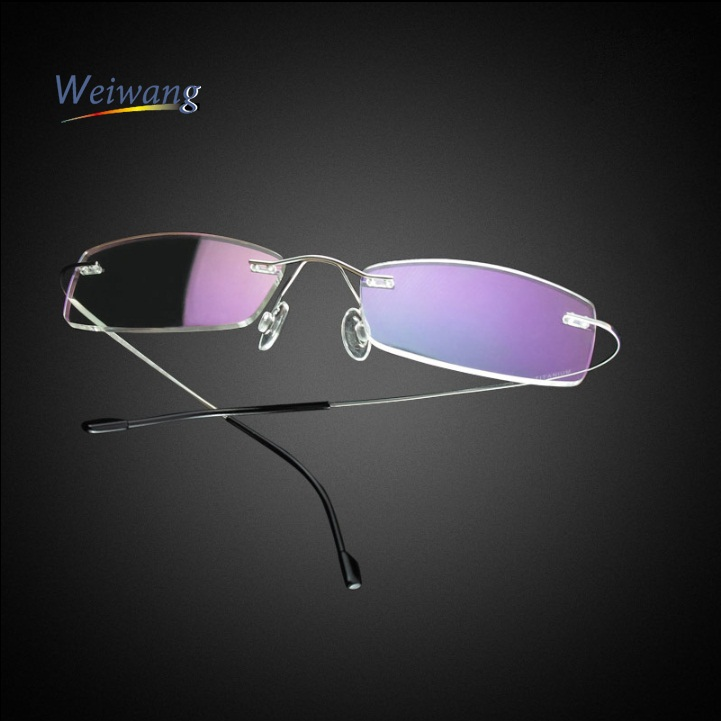 black metal rimless eyeglasses frame for men and women outstanding quality practical usage for reading(China (Mainland))
