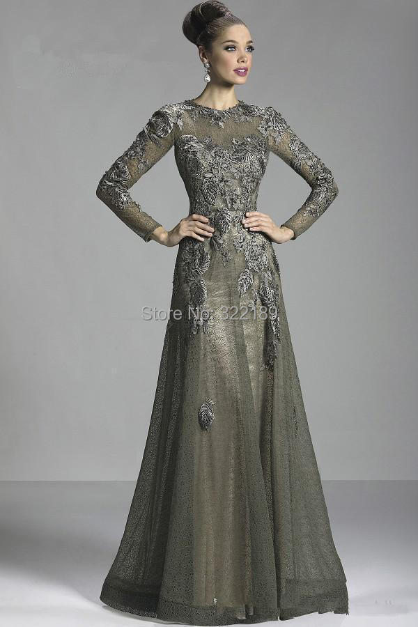 2015 Glamorous Olive Long Sleeve Lace Mother Bride Dresses Applique Sheer Crew Neck Formal Evening Gowns - jiamin zhang's store