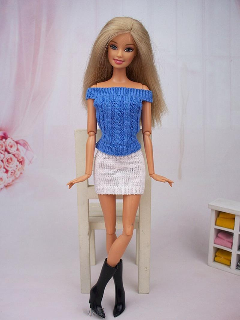 Children Toy Doll Equipment Knitwear Off-Shoulder Attire Garments For Barbie Doll Home Knitting Skirts Vestidos For 1/6 BJD Doll