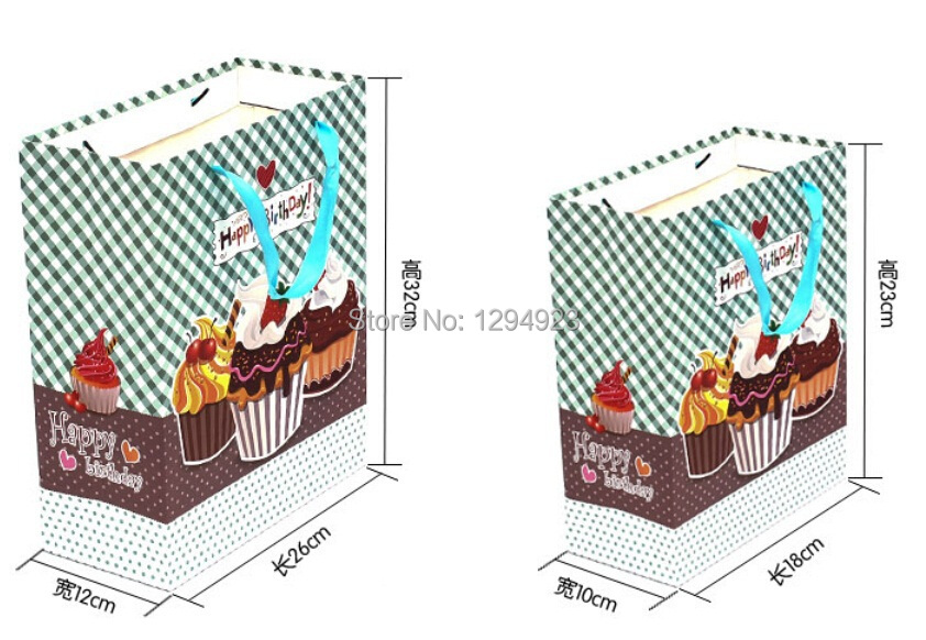 paper Happy birthday bags with nylon string handle Free Shipping Size 18*10*23cm(China (Mainland))