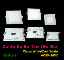 3W 4W 6W 9W 12W 15W 25W Cool/Warm White LED Ceiling LED Downlights Square/Round Panel Light lamp SMD2835 AC85~265V Free shipping(China (Mainland))