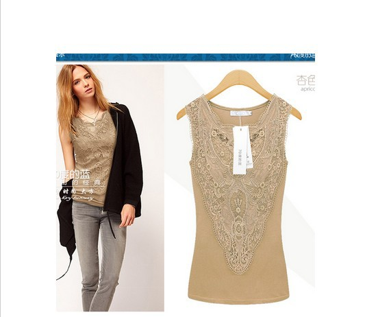 2014 New Women Tops Tees Lace T Shirts Slim Embroidery Cotton Tank Top Vest Lady Summer Apparel & Accessories - love0136 store