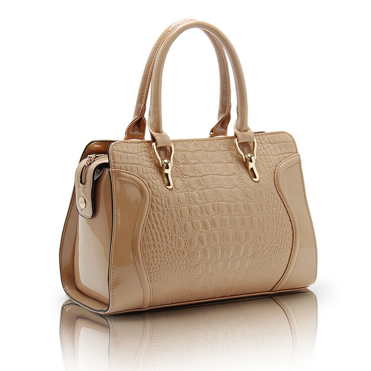 2014 Hot Selling Fashion Patent Leather Women Bag Crocodile Pattern