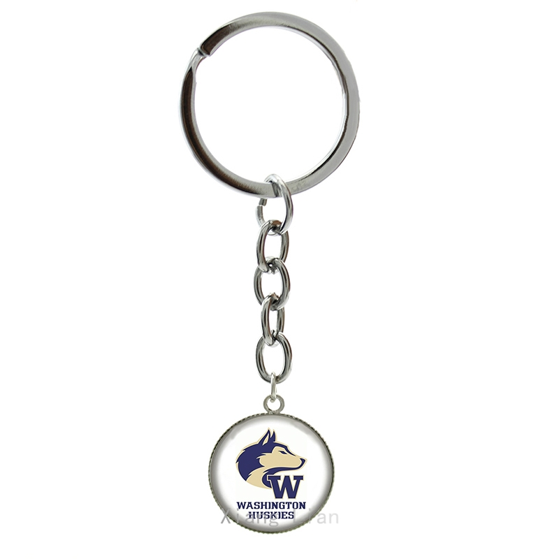 Popular rugby jewelry case for Washington Huskies keychain trendy american football sports team key chain jewelry gifts NF081(China (Mainland))