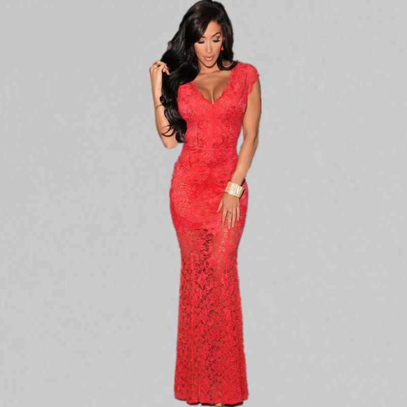 Women dress 2015 Sexy Prom Long Dress Ladies Elegant Formal Lace V Neck Backless Party Mermaid Floor Length Dresses Q918