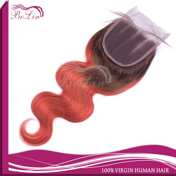 Ombre Closure Bleached Knots Human Hair 2 Tone T#4/#130 Peruvian Virgin Hair Body Wave Ombre Lace Closure 10-20Stock<br><br>Aliexpress