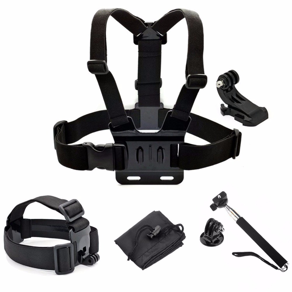 new gopro selfie stick monopod with chest strap headband mount for gopro hero 4 4s 3 3 2 and. Black Bedroom Furniture Sets. Home Design Ideas
