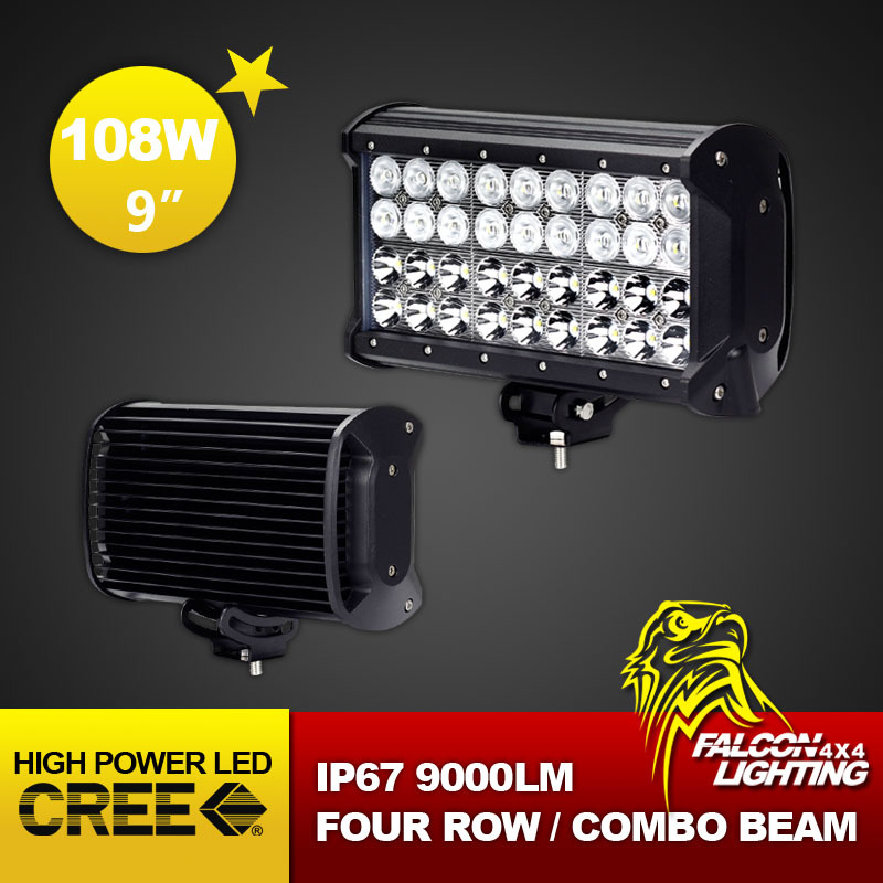 "9"" 108W Cree LED Light Bar 12V Combo Beam Offroad Lamp for Truck Tractor Boat Military Equipment LED Working Bar Light(China (Mainland))"