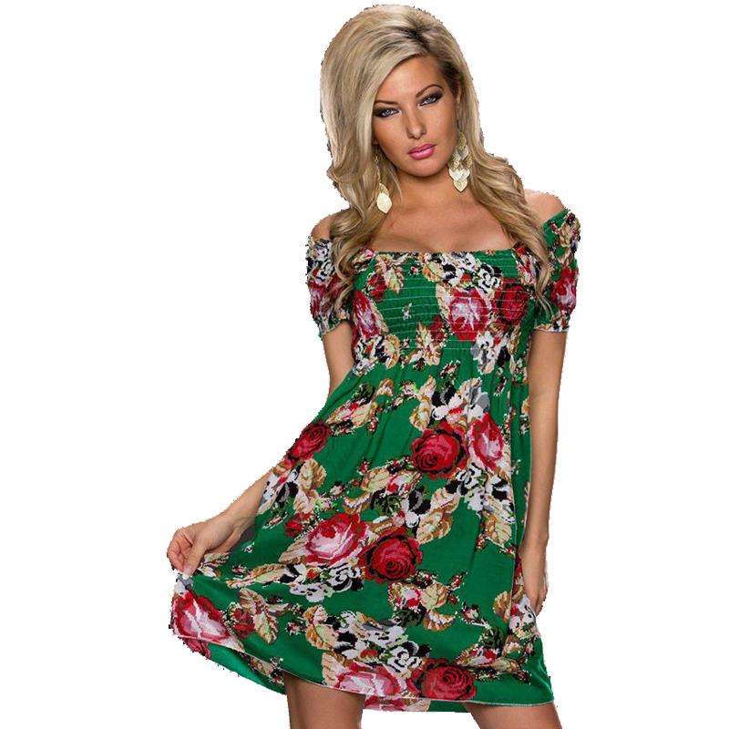 R70029 Slash neck women dress Fashion puff sleeve dress ohyeah Rose printing dress top sale Sexy print summer dress(China (Mainland))