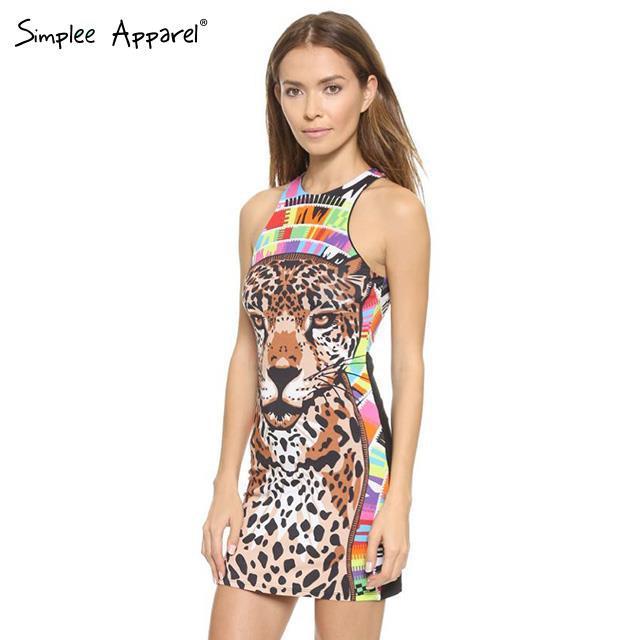 2015 New Women summer Dress sundress Leopard print colorful mini sexy dress plus size bodycon Sheath vestidos femininos(China (Mainland))