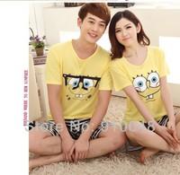 2015  summer  couples spongebob print pajamas  comfortable sleepwear for couples women sleepwear