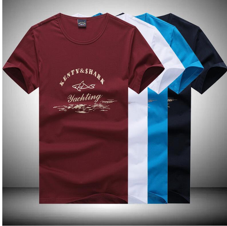 2016 Newest high quality brand clothing leisure cotton stripe men t shirt short sleeve t-shirt O-Neck Sharks shirts(China (Mainland))
