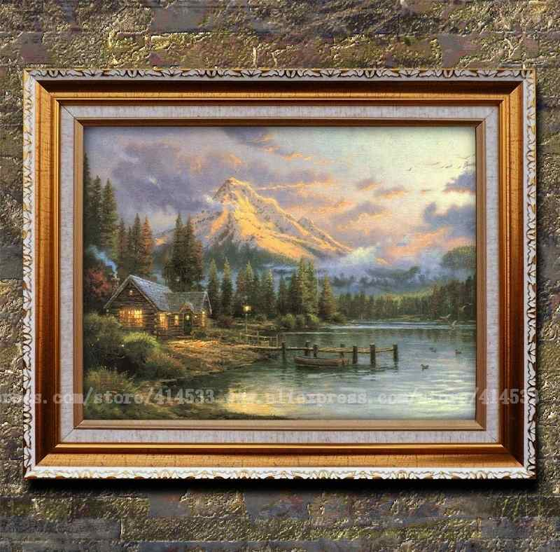 Thomas kinkade prints of oil painting Lakeside Hideaway Landscape painting modern wall painting hotel Home decor Framed(China (Mainland))