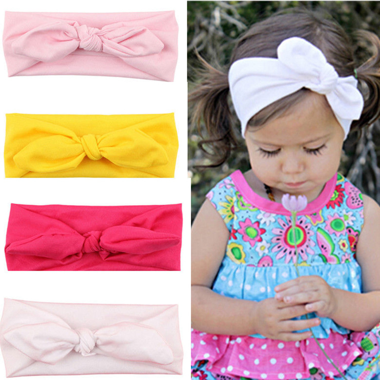 Trendy Lovely Rabbit Ears Bowknot Shaped Elastic Cloth Baby Girls Hairbands Children Hair Accessories BB-222(China (Mainland))
