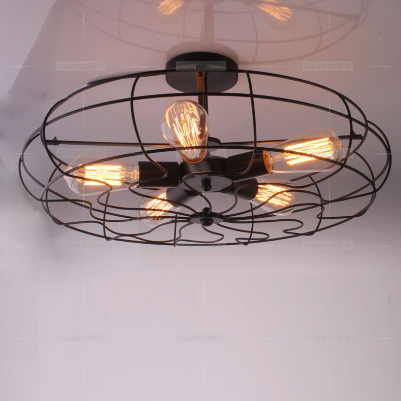 Free shipping 2014 ho selling loft style american country industrial 5 electric fan ceiling - Industrial style ceiling fan with light ...
