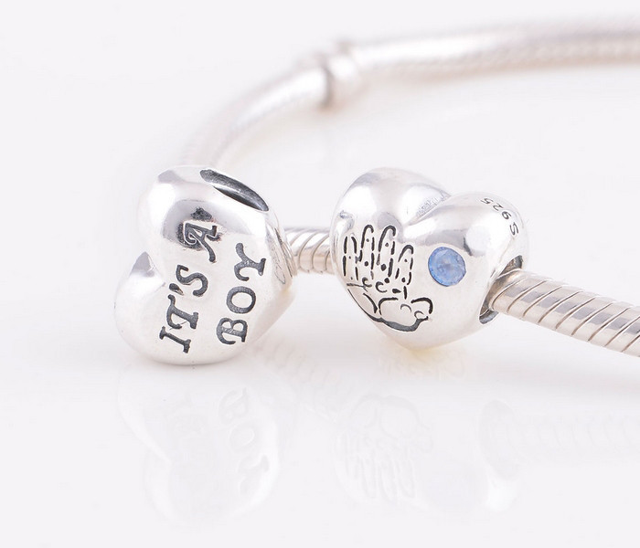 NEW S925 Sterling Silver Baby Boy Heart with Blue CZ Charm Beads Fits European Pandora Bracelets & Necklaces Pendant HS-LV11(China (Mainland))