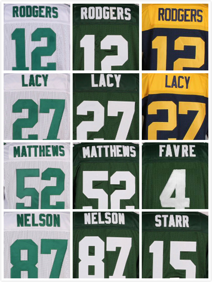 Stitched 4 Brett Favre 12 Aaron Rodgers 27 Eddie Lacy 52 Clay Matthews 87 Jordy Nelson 18 Randall Cobb 15 Bart Starr Jerseys(China (Mainland))