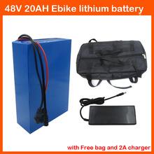 С Мешком Батареи 48 В 1000 Вт Электрическая батарея Велосипеда 48 В 20AH литиевая батарея с ПВХ Case 30A BMS зарядное устройство Бесплатно доставка