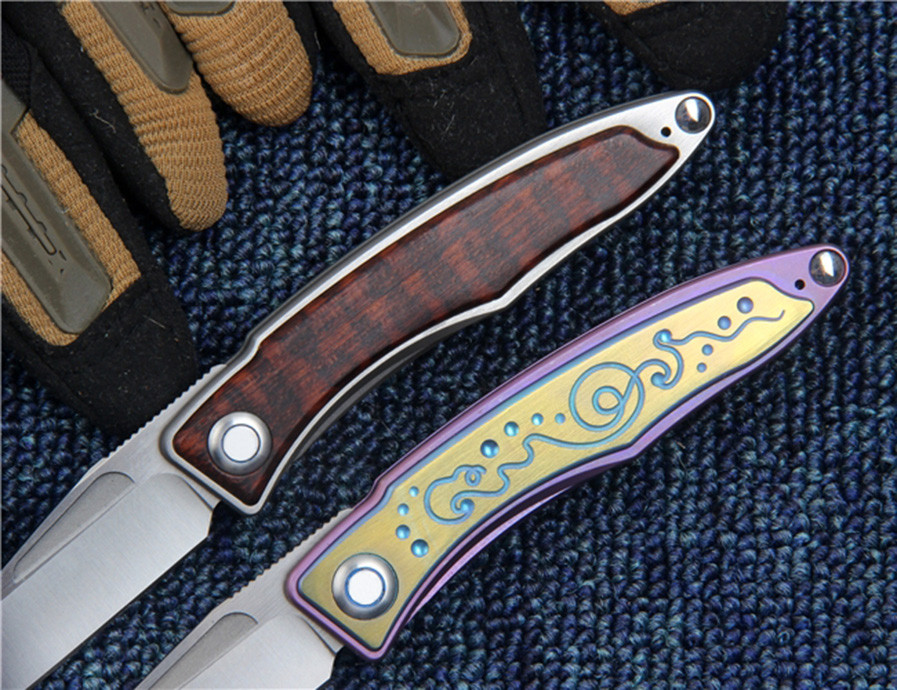 Buy M390 Blade Tactical Folding Knife Titanium Wood Handle Hunting Survival Outdoor Camping Combat Knives EDC Multi Rescue Tools cheap