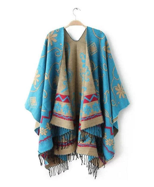 Brand Fashion Womens Autumn Winter Warm Flower Pattern Slit Wool Blend Plaid Blanket Cloak Poncho Cape Coat Tassel Shawls ScarfОдежда и ак�е��уары<br><br><br>Aliexpress